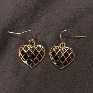 Blue and Black Silver Hearts Earrings